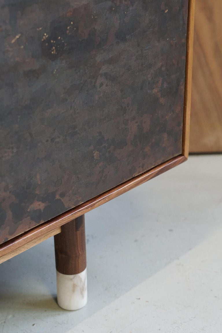 Hand-Painted Modern Wabi Credenza in Walnut, Alabaster and Patina Brass For Sale
