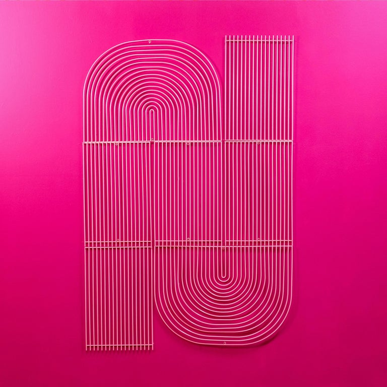 Modern Wall Art, Modular Art Piece by Bend Goods 'Straight', Gold In New Condition For Sale In Los Angeles, CA