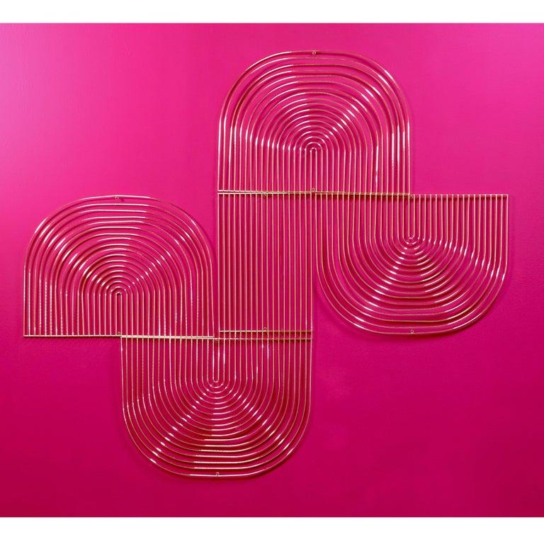 Contemporary Modern Wall Art, Modular Art Piece by Bend Goods 'Straight', Gold For Sale