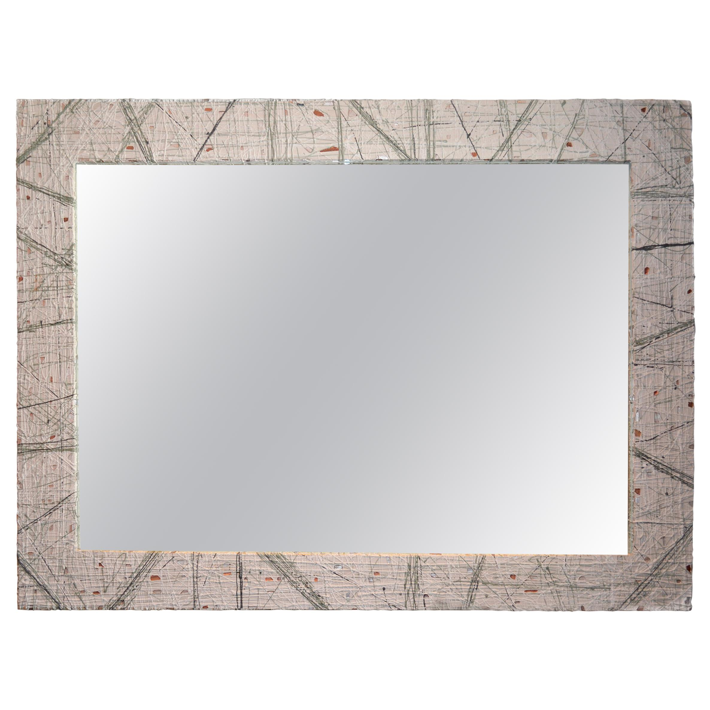 Modern Wall Mirror With Lacquered Brass Inlays And White Washed Wood Frame  For Sale At 1stdibs