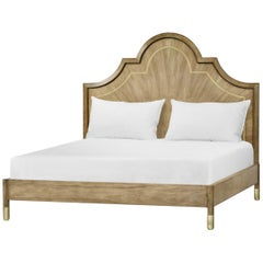 Modern Walnut and Brass King Size Bed