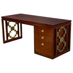Modern Walnut Brass Desk Carta Desk by Laura Kirar