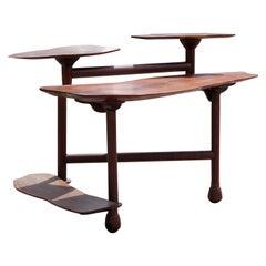 Modern Walnut Custom Organic Multi-Tiered Natural Wood Desk or Table