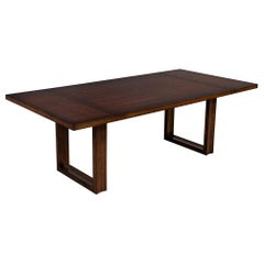 Modern Walnut Dining Table with Geometric Bases