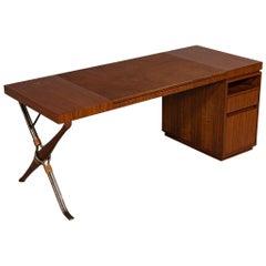 Modern Walnut Leather Top Writing Desk by Baker Furniture Mcguire Desk