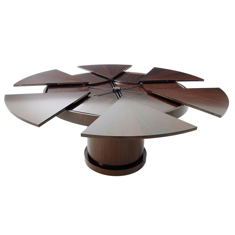 European Modern Walnut Round Extension Dining Table For Sale
