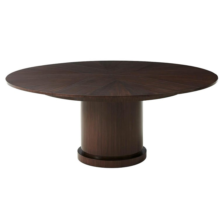 Modern Walnut Round Extension Dining Table For Sale