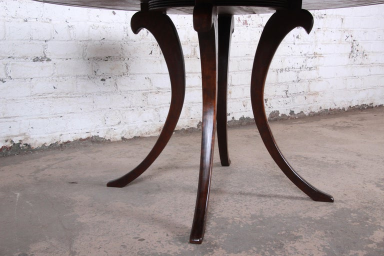Modern Walnut Saber Leg Dining Table with Inlaid Starburst Parquetry Top For Sale 6