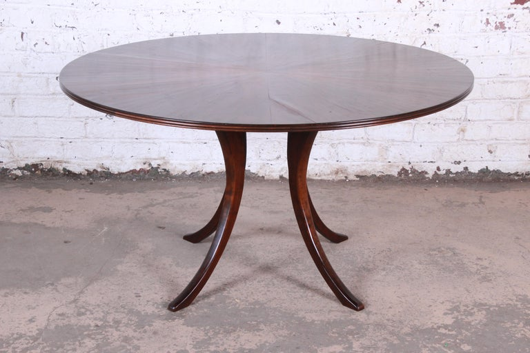 Modern Walnut Saber Leg Dining Table with Inlaid Starburst Parquetry Top In Good Condition For Sale In South Bend, IN