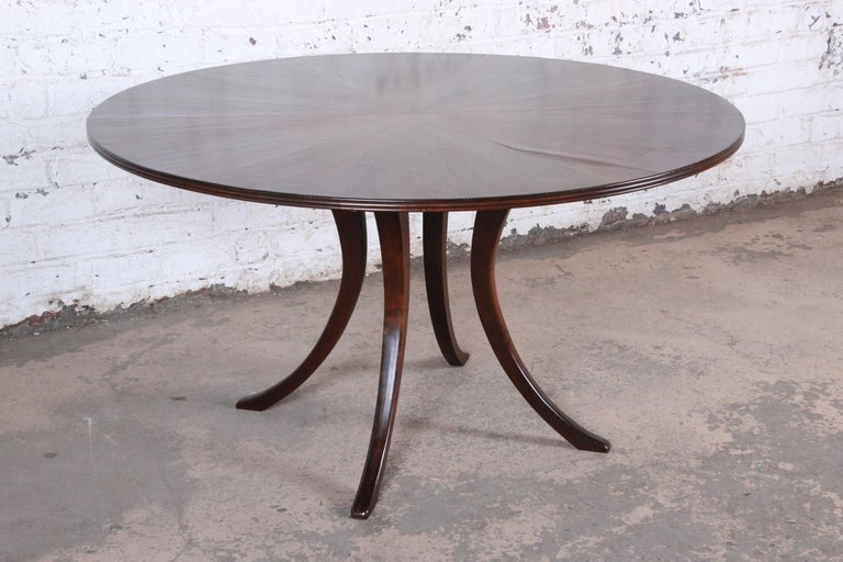 Modern Walnut Saber Leg Dining Table with Inlaid Starburst Parquetry Top For Sale 2