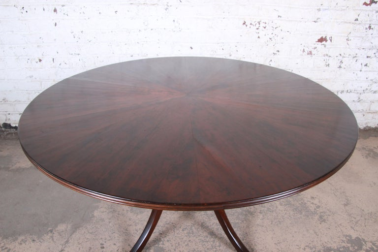 Modern Walnut Saber Leg Dining Table with Inlaid Starburst Parquetry Top For Sale 3