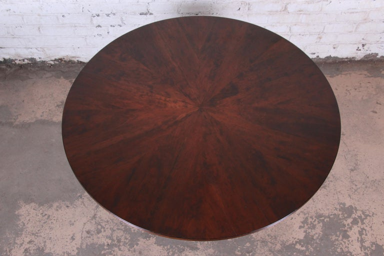 Modern Walnut Saber Leg Dining Table with Inlaid Starburst Parquetry Top For Sale 4