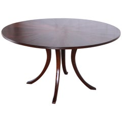 Modern Walnut Saber Leg Dining Table with Inlaid Starburst Parquetry Top