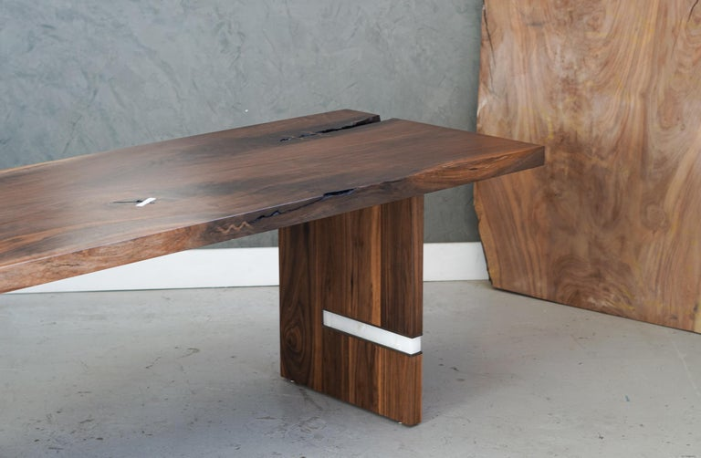 American Modern Walnut Slab Table in Alabaster and Patina Brass For Sale