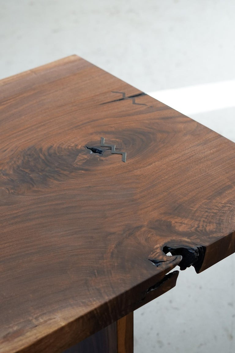 Patinated Modern Walnut Slab Table in Alabaster and Patina Brass For Sale