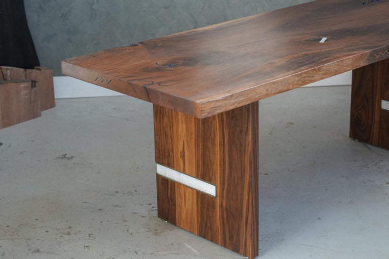 Modern Walnut Slab Table in Alabaster and Patina Brass For Sale 1