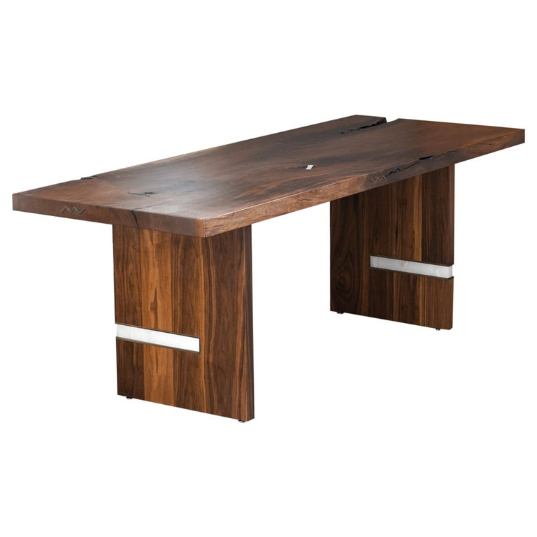 Modern Walnut Slab Table in Alabaster and Patina Brass For Sale