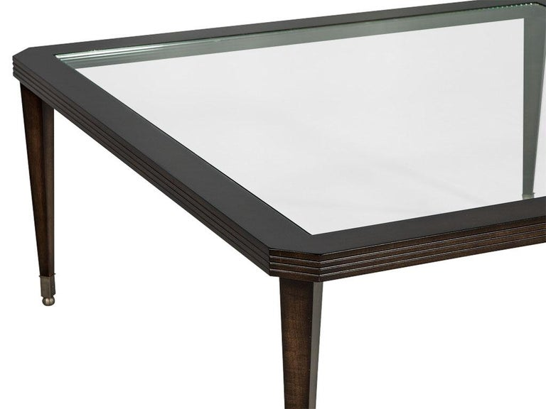 American Modern Walnut Square Glass Top Cocktail Table For Sale