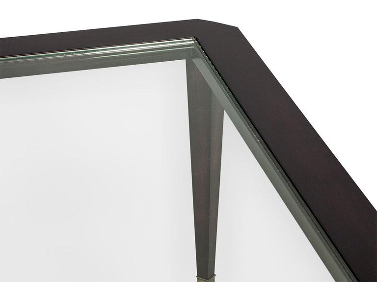 Modern Walnut Square Glass Top Cocktail Table In Excellent Condition For Sale In North York, ON