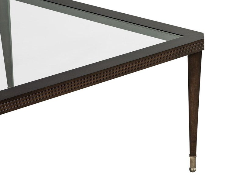 Contemporary Modern Walnut Square Glass Top Cocktail Table For Sale