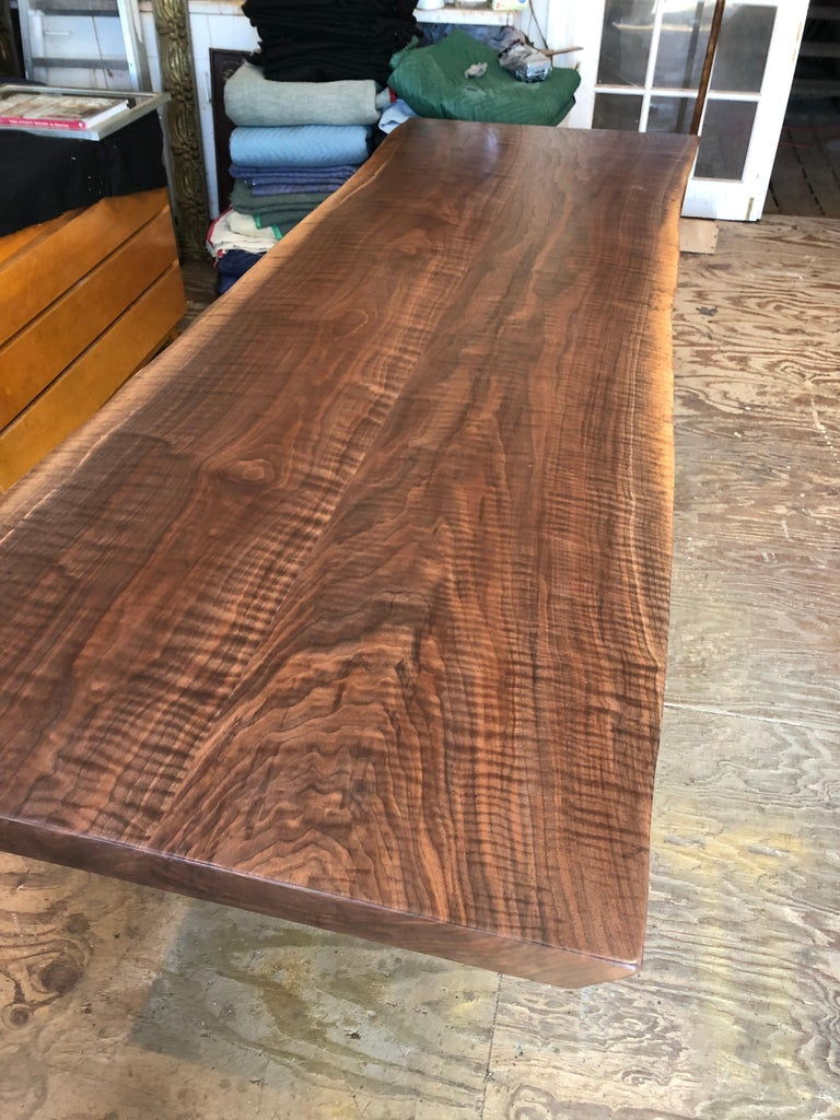 American Modern Walnut Trestle Table For Sale