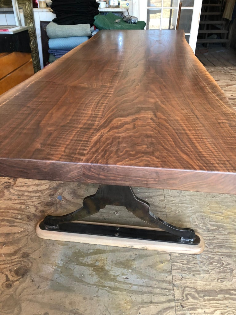 Hand-Crafted Modern Walnut Trestle Table For Sale