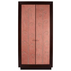 Modern Wardrobe with Pink Alcantara Finish and Studded Pattern, Available Now