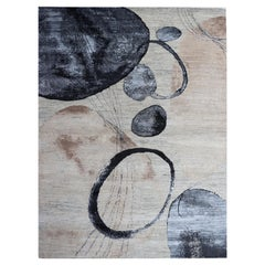 Modern Watercolor Circles Beige, Nude, Blue, Brown Wool Hand-Knotted Rug