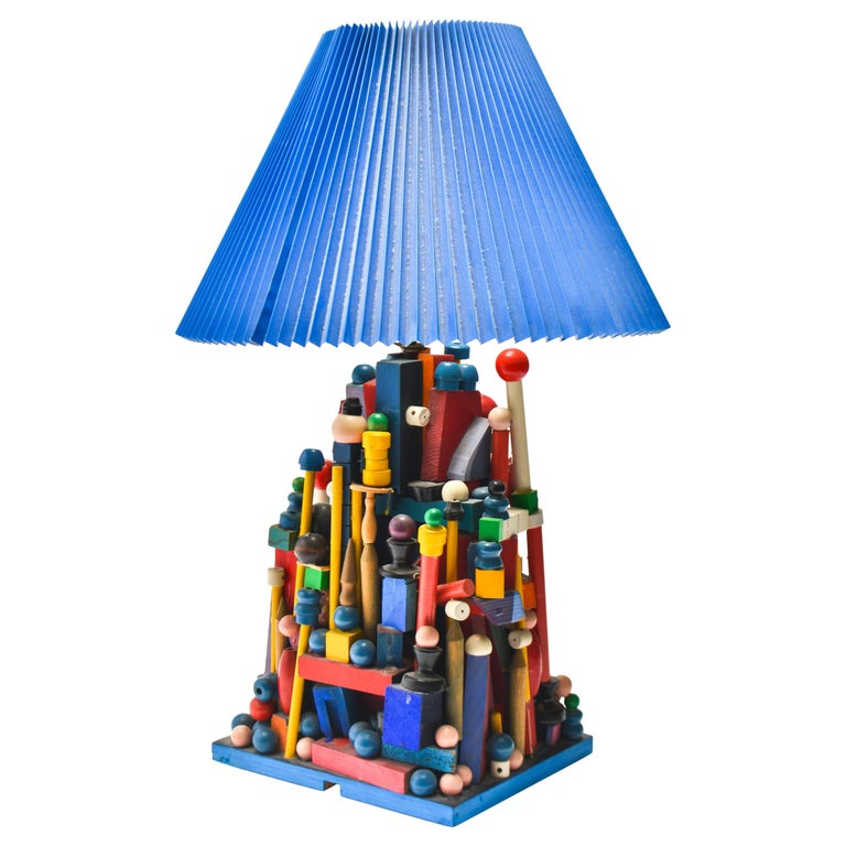 Modern Whimsical Polychrome Wood Table Lamp For Sale