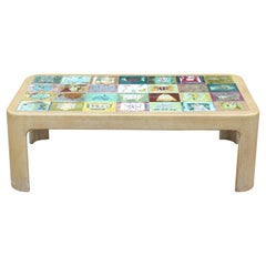 Modern Whimsical Roger Capron Style Colorful Hand Painted Tiled Coffee Table