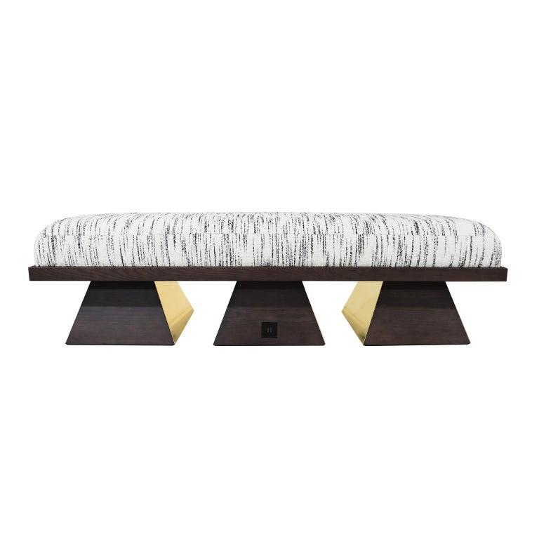 Portuguese Modern Brutalist White & Black Velvet Bench with Black Legs Gold Stainless Steel For Sale