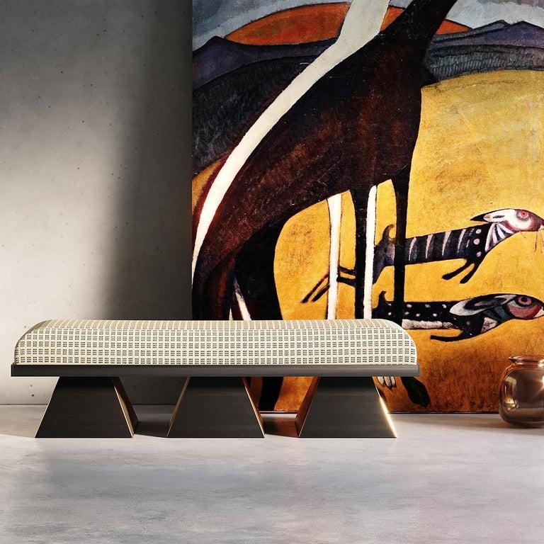 Contemporary Modern Brutalist White & Black Velvet Bench with Black Legs Gold Stainless Steel For Sale