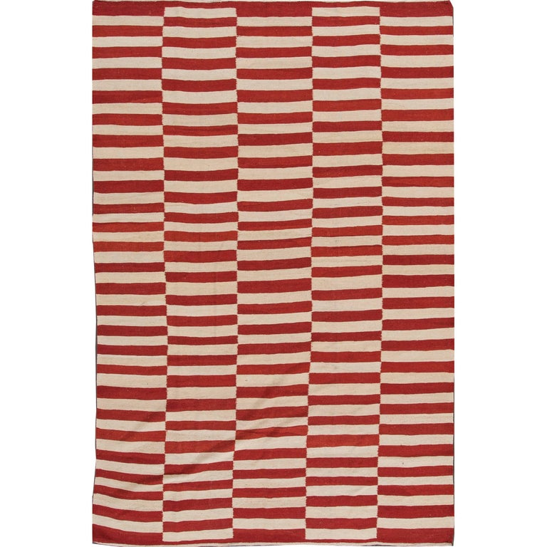 Modern White And Red Geometric Striped Turkish Kilim Rug For Sale