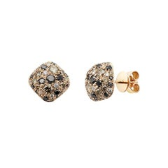 Modern White Black Brown Diamond Combination Pink Gold Every Day Stud Earrings