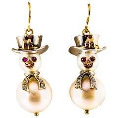 "Modern White Diamond Ruby Oriental Pearl Yellow Gold ""Snowman"" Stud Earrings"