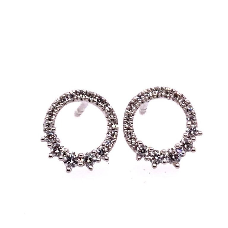 Modern White Gold 0.22 Carat Natural Colorless Diamond Circle Earrings Gem Stone For Sale 5