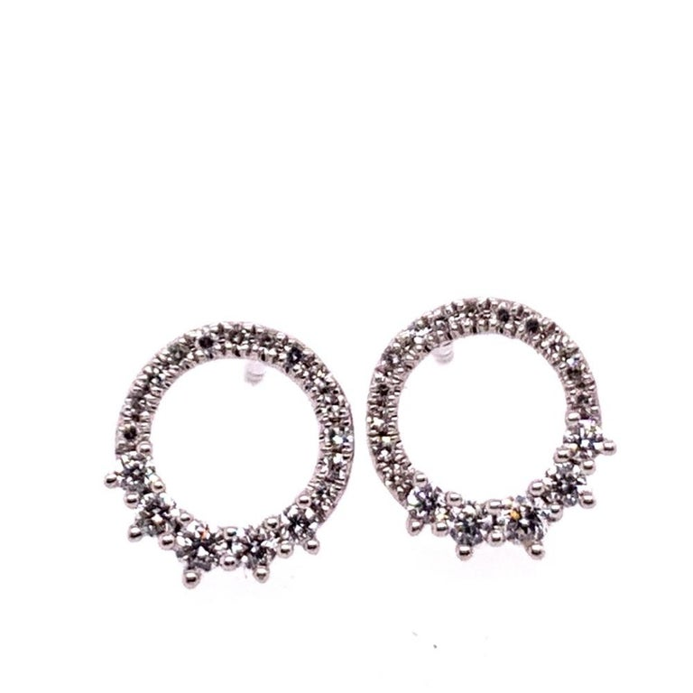Modern White Gold 0.22 Carat Natural Colorless Diamond Circle Earrings Gem Stone In Good Condition For Sale In Los Angeles, CA