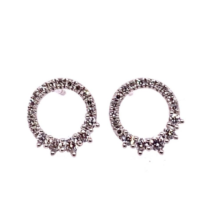 Modern White Gold 0.22 Carat Natural Colorless Diamond Circle Earrings Gem Stone For Sale 4