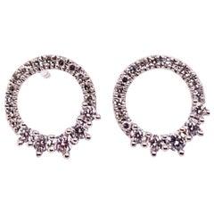 Modern White Gold 0.22 Carat Natural Colorless Diamond Circle Earrings Gem Stone