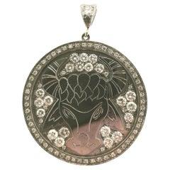Modern White Gold and Diamonds Taurus Pendant