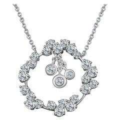 Modern White Gold Diamond Pendant Necklace