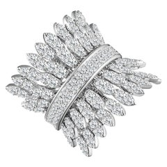 Modern White Gold Kinetic Double Petal Diamond Cocktail Ring