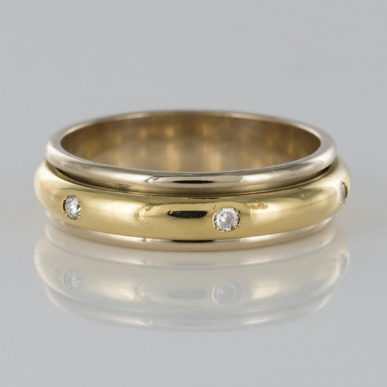 Modern White Gold Yellow Gold Diamond Mobile Wedding Ring In Good Condition For Sale In Poitiers, FR
