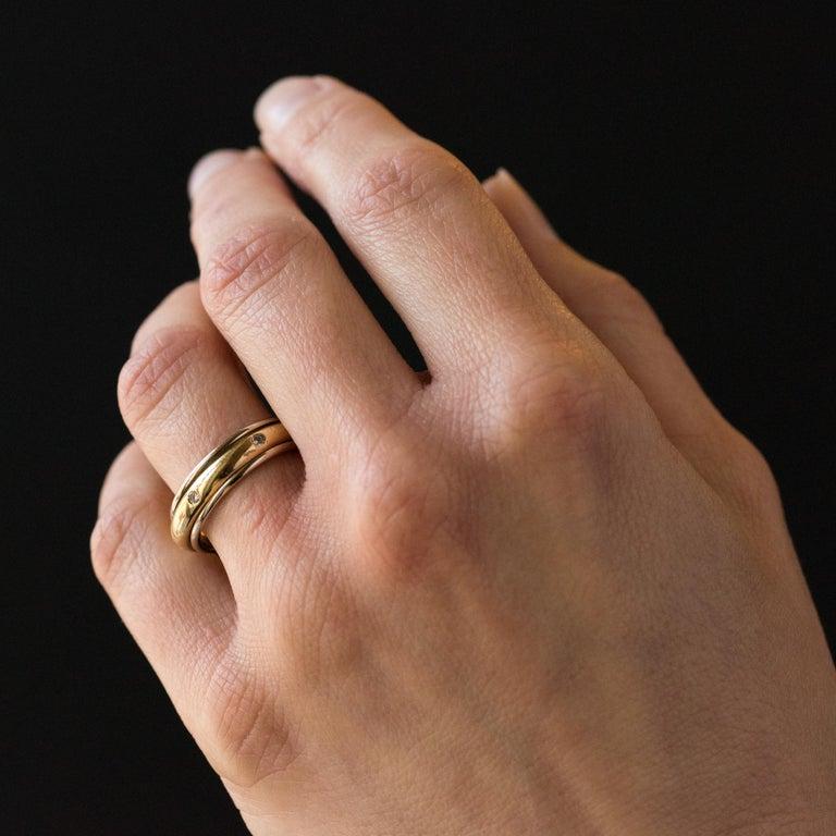 Women's Modern White Gold Yellow Gold Diamond Mobile Wedding Ring For Sale
