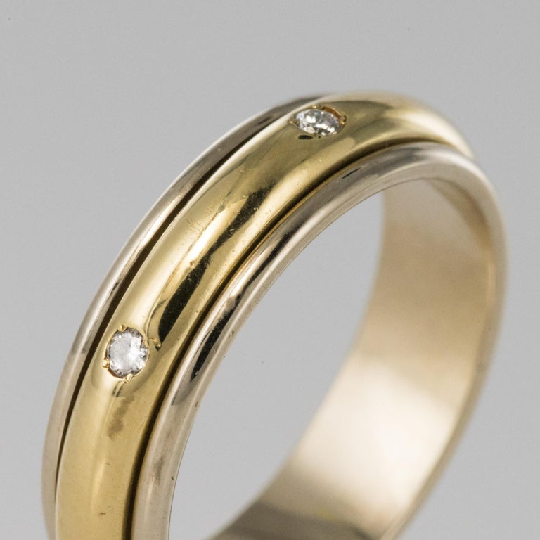 Modern White Gold Yellow Gold Diamond Mobile Wedding Ring For Sale 1
