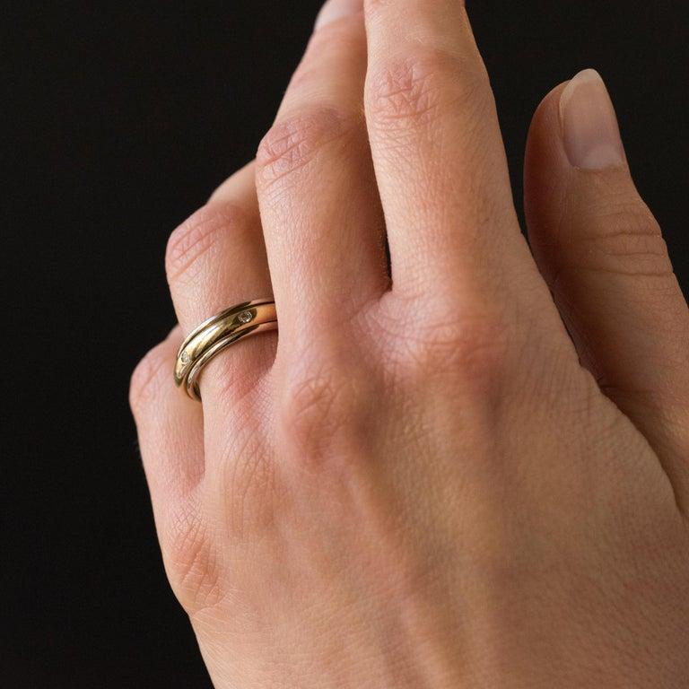 Modern White Gold Yellow Gold Diamond Mobile Wedding Ring For Sale 2