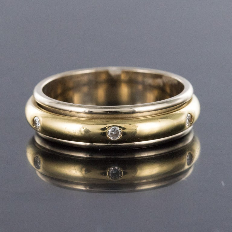 Modern White Gold Yellow Gold Diamond Mobile Wedding Ring For Sale 3