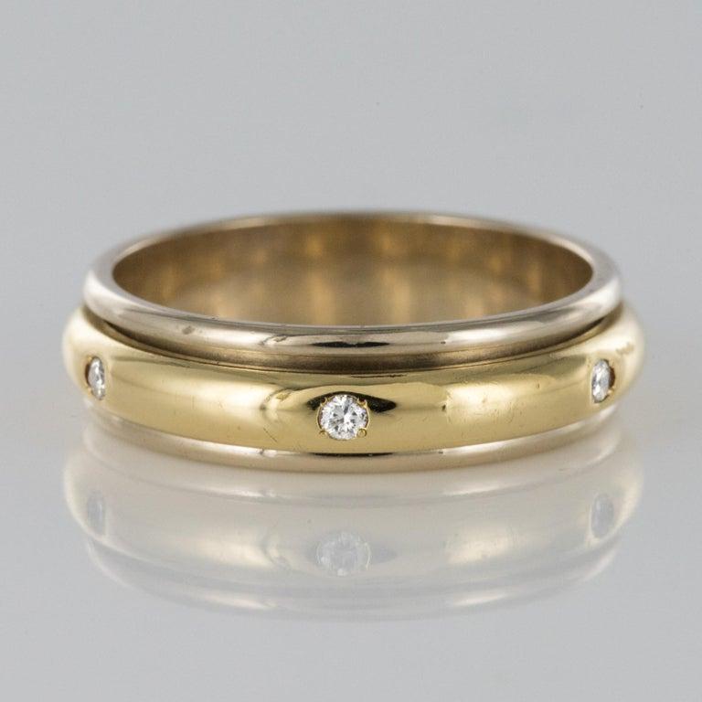 Modern White Gold Yellow Gold Diamond Mobile Wedding Ring For Sale 5
