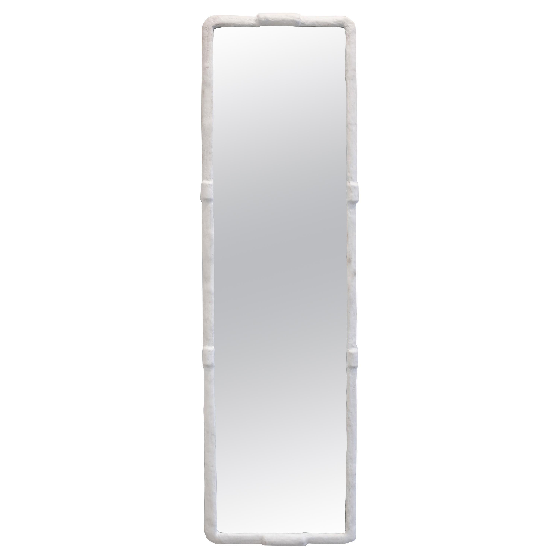 Wall or Floor Mirror Modern Industrial Textured White Plastered Steel Geometric