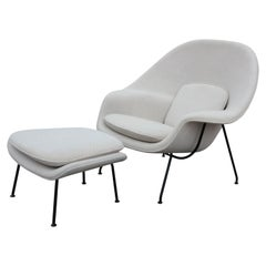 Modern White Knoll Womb Chair and Ottoman by Eero Saarinen
